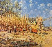 Childe Hassam Building a Schooner, Provincetown oil painting reproduction